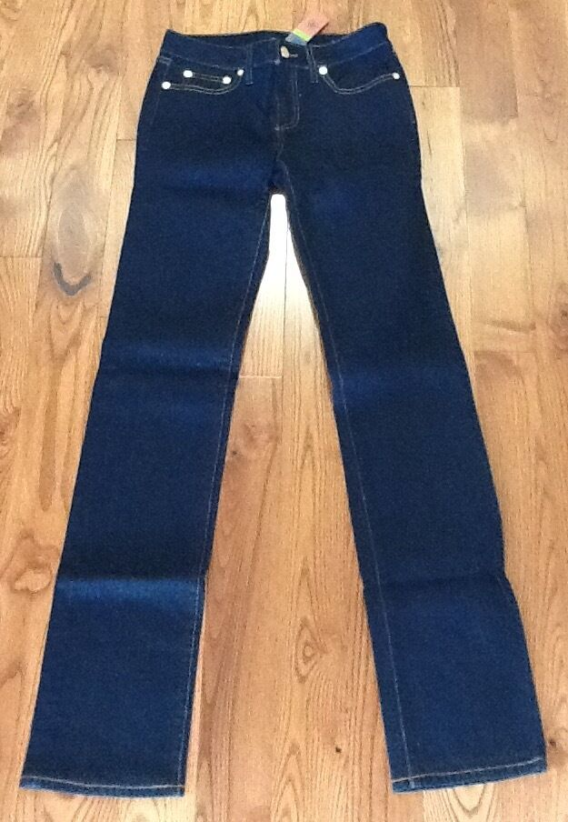 TORY BURCH DARK WASH STRAIGHT LEG JEANS NEW WITH TAGS SIZE 25 INCH WAIST