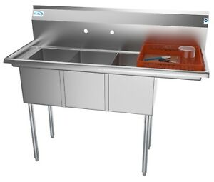 3-Three-Compartment-NSF-Stainless-Steel-Commercial-Kitchen-Sink-w-Drainboard-51-034