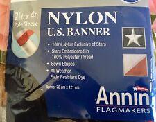 "HURRICANE WARNING FLAG 36/""x36/"" SEWN APPLIQUE NYLON Miami Hurricanes Made in USA"