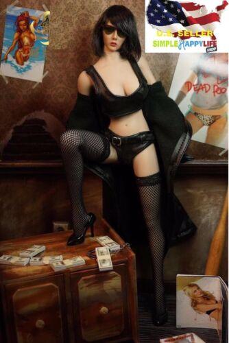 """1//6 en cuir longue veste vêtements Set Pour 12/"""" PHICEN Hot Toys figure féminine ❶ USA ❶"""