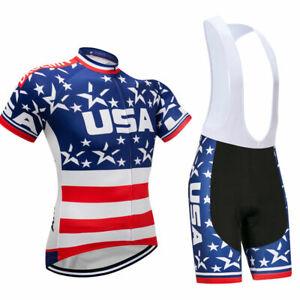 86e1eae6357 Mens Cycling Jersey Bib Short Kit Bicycle Bike Shirt Team USA Flag ...