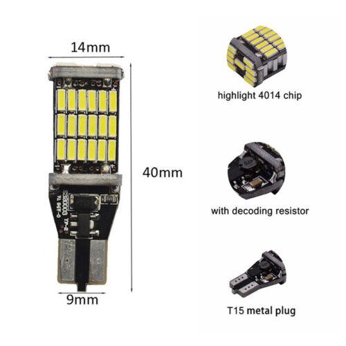 2x T15 W16W 45 SMD 4014 Error Free LED Car Reverse Back Light Bulbs 6000K White