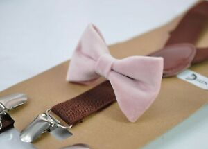 Blush-Dusty-Rose-Pink-Velvet-Bow-tie-Brown-Elastic-Suspenders-for-all-ages