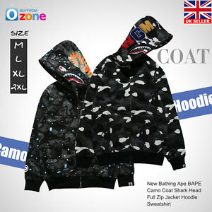 8a9fe0b82f5 New Bathing Ape BAPE Camo Coat Shark Head Full Zip Jacket Hoodie ...