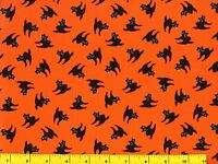 Black Halloween Cats On Orange Quilting Fabric By Yard 963