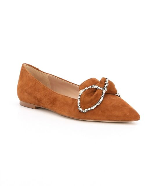 2fb302043 Sam Edelman Rochester Women s Size 10M Luggage Tan Suede Bow Point Toe Flats  New