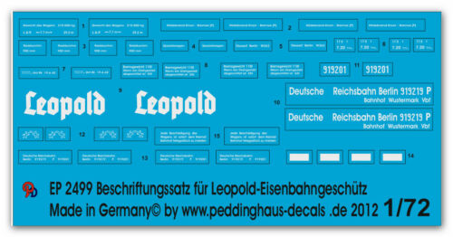 Peddinghaus 2499 1//72 Leopold Eisenbahngeschütz