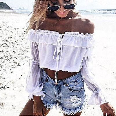Boho Women Off Shoulder Casual Solid Shirt Lace Chiffon Top Blouse Tops HOT