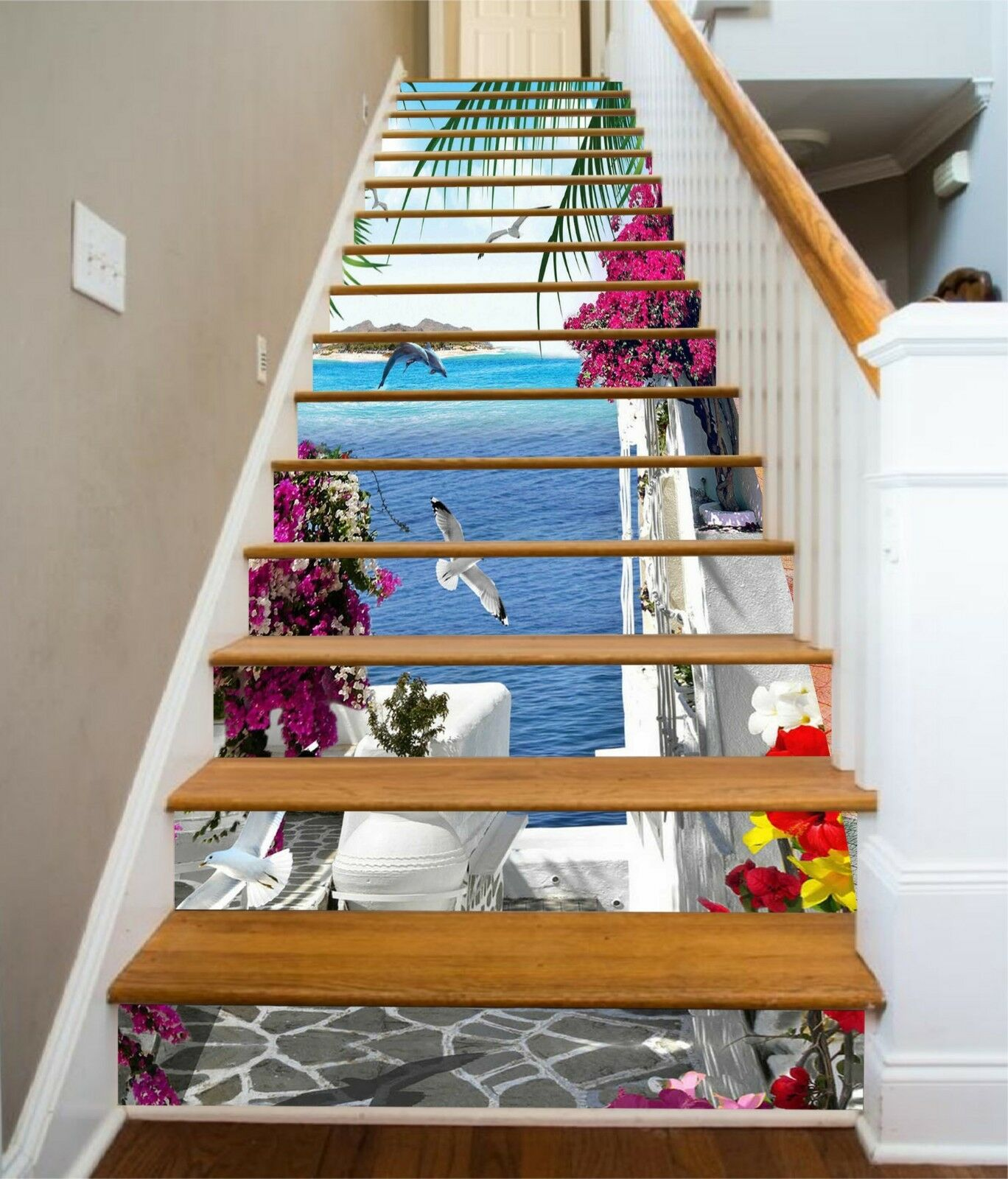 3D Sea Flower House Stair Risers Decoration Photo Mural Vinyl Decal Wallpaper CA