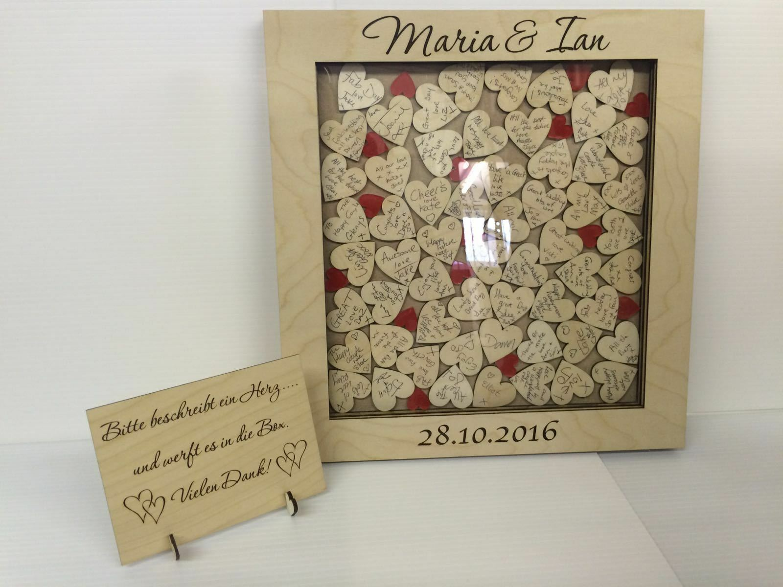 Personalised birch plywood Rouge hearts  drop box wedding guest book 76 hearts Rouge gift d7b56d