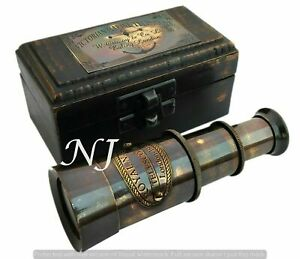 Victorian-Brass-Telescope-w-Box-Antique-Finish-Nautical-Maritime-Spyglass-Telesc