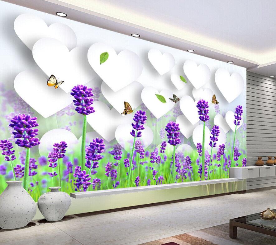 Papel Pintado Mural De Vellón Mariposa De Lavanda 3 Paisaje Fondo Pansize ES AJ