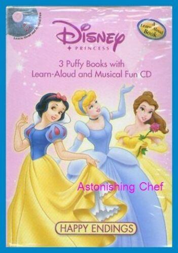 DISNEY PRINCESS HAPPY ENDINGS PUFFY BOOK SET W CD NEW