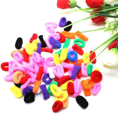100pcs Kids Children Girls Elastic Ties Hair Bands Ropes Headbands Multicolors