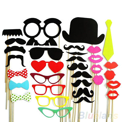 32Pcs DIY Photo Booth Props Mustache Lip Stick Wedding Christmas New Year Party