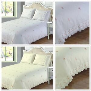 Rapport-Sophie-Pink-Rose-Embroidered-Lace-Duvet-Cover-Bedding-Set-White-Or-Cream
