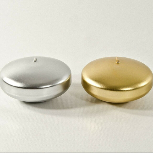 Floating Candles GOLD and SILVER choose colour 4hr burning time 5cm across