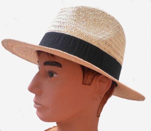 Herren Hut eleganter Naturstrohhut  gerade Krempe Traveller Urlaub Garten Alltag