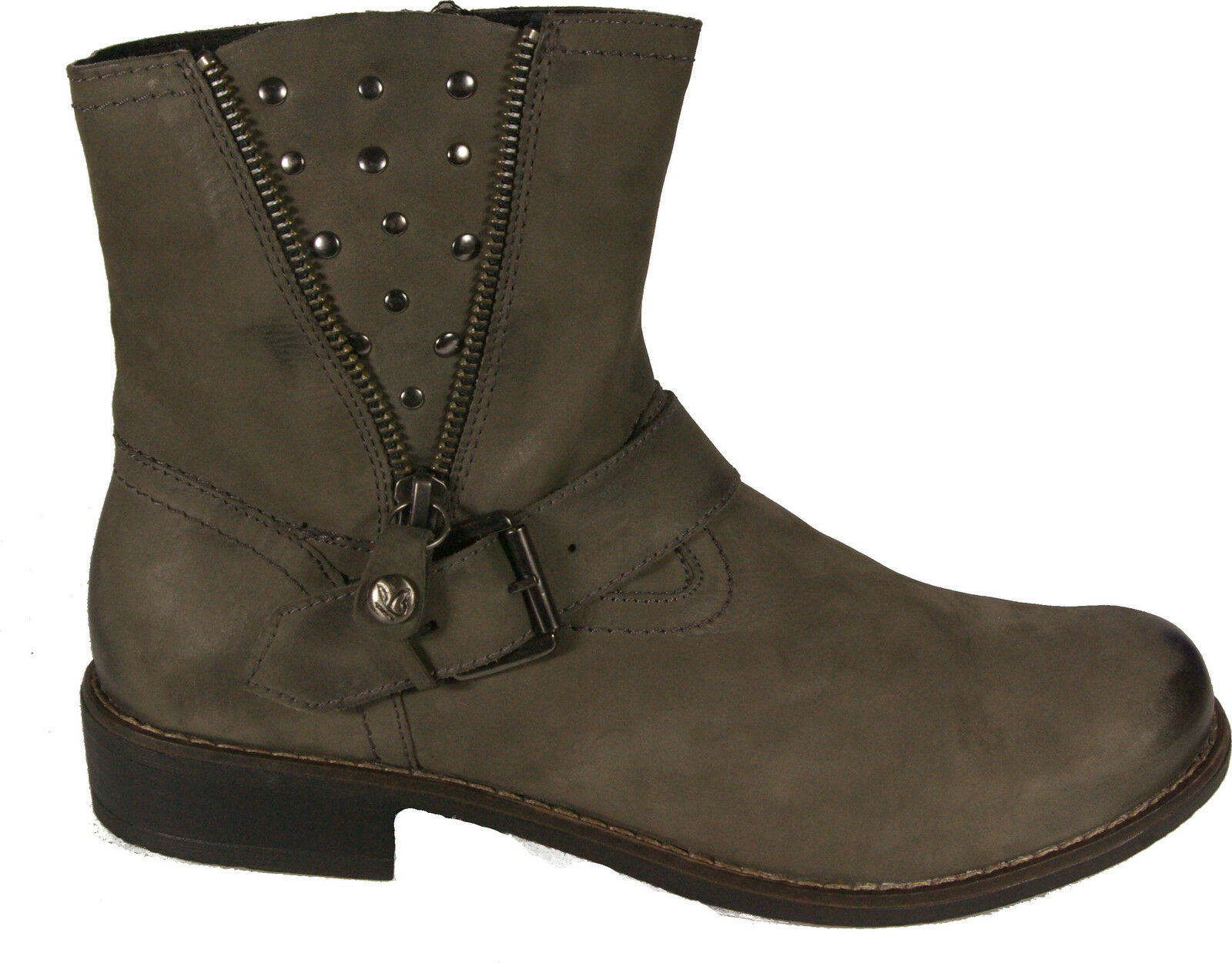 Caprice shoes City Ankle Boots Grey Real Leather Nubuck Zip New