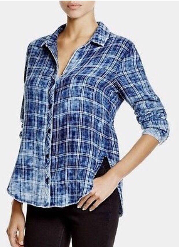 CLOTH & STONE WOMEN Sz S BUTTON DOWN LONG SLEEVE SHIRT PLAID blueE CLOUD MULT