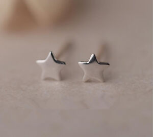 Shiny-Solid-925-Sterling-Silver-Cute-Small-Tiny-Star-Plain-Stud-Earrings-Gift