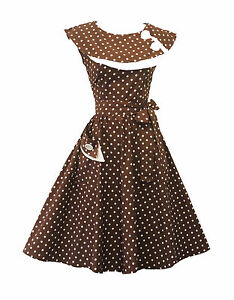 Rosa-Rosa-Vintage-1950s-Retro-Marron-Lunares-Rockabilly-Fiesta-Baile-Swing