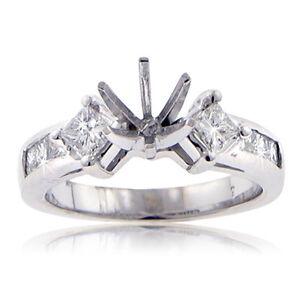 1.00 Ct. TW Princess Diamond Engagement Semi Mount F Color VS-2 Clarity 18 kt