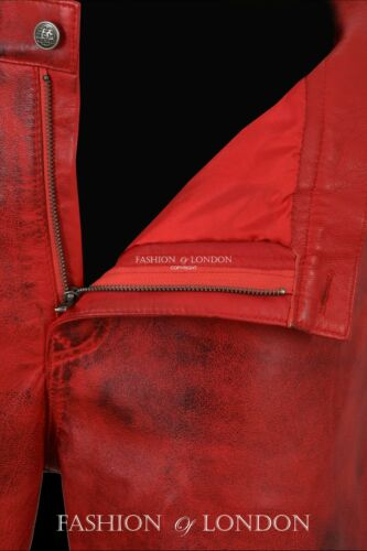 "Men/'s Pelle Da Motociclista Pantaloni Jeans allacciata stile /""Dirty Red Napa Pantaloni 00126"