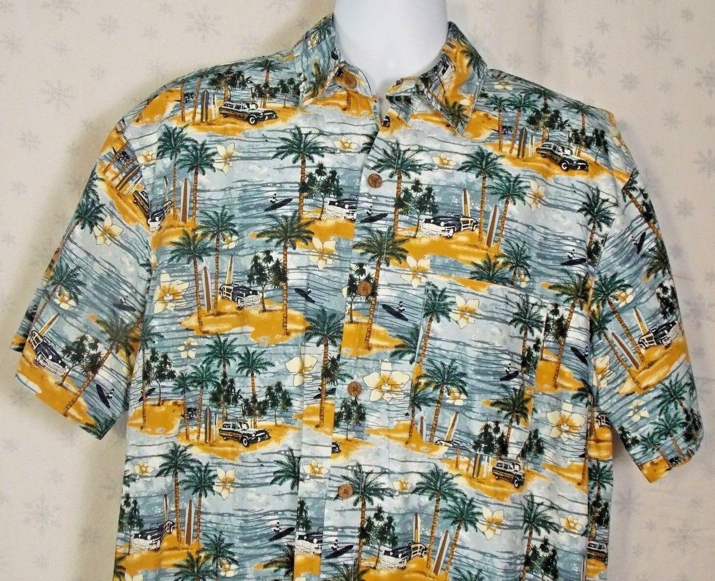 RoundTree and Yorke Hawaiian Tiki Button Shirt Island Large Cotton  D