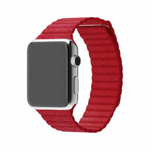 Red Genuine Leather Magnetic Loop Bracelet Band Strap For Apple Watch 38 42 Mm Ebay