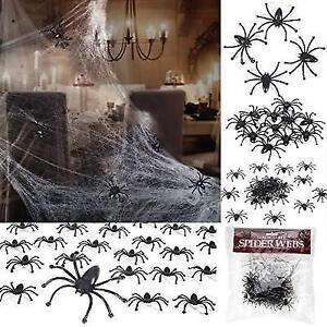 Lumiparty Halloween Spider Web Stretchable 24 Fake Spiders For