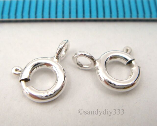 10x ITALIAN STERLING SILVER SPRING ROUND RING CLASP 6mm #2416