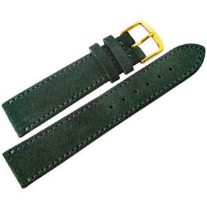 18mm-Fluco-Dark-Green-Suede-Leather-GOLD-Buckle-German-Made-Watch-Band-Strap