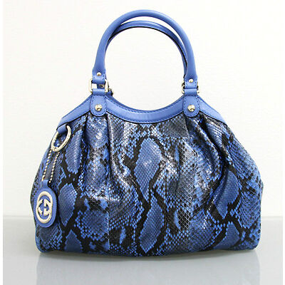 5af6f1e103d8  2500 New GUCCI Blue Medium Sukey Python Tote BAG HANDBAG 211944