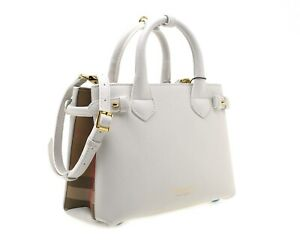 Burberry-Small-Banner-Tote-Leather-Shoulder-Bag-House-Check-White-New