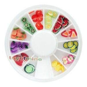 New-120-PCS-3D-Fruit-Fimo-Nail-Art-Tips-UV-Acrylic-Decoration-Wheel