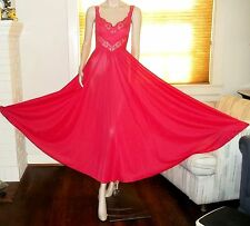 Olga Bodysilk 9295 Long Nightgown Perky Spandex M Red Wide Sweep Hem 203 Inch