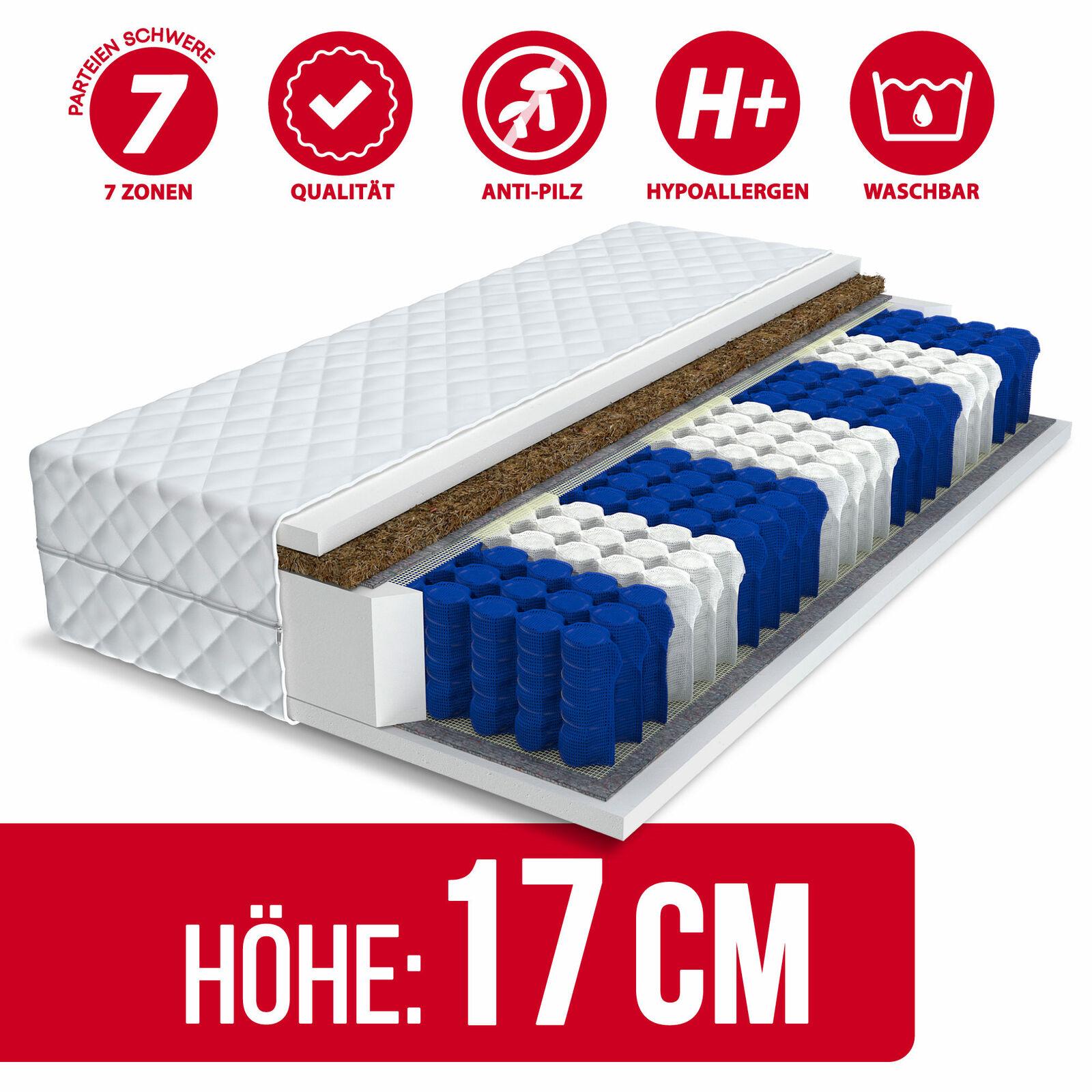 Matratze 90x200 VIDA 7 Zonen H3 Kokos Premium Taschenfederkern Federkern 17cm