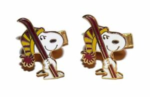 Vintage-Snoopy-Dog-Ski-Skiing-Enamel-Gold-Tone-Cuff-Links-United-Features-1960s