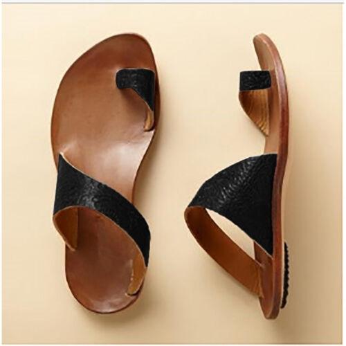 Women Gladiator Low Flat Heel Summer Leather Flip Flops Beach Sandals Shoes Size