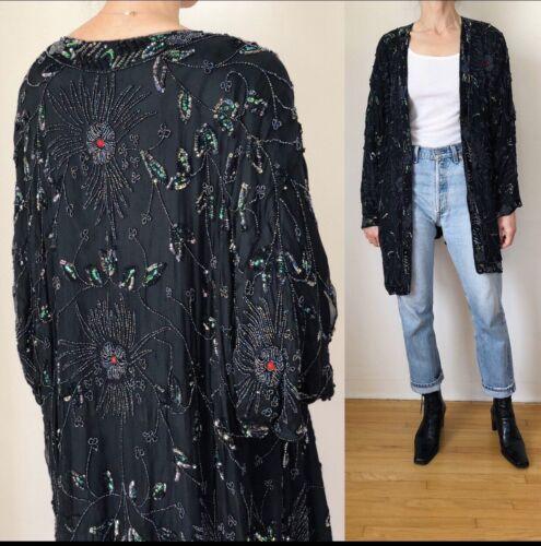 Vintage Beaded Sequin Silk Dolman Kimono Jacket XL