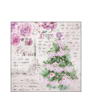 20-Cocktailervietten-034-Reves-De-Noel-034-25x25-Napkins-Weihnachtsbaum-Schrift-Rosen