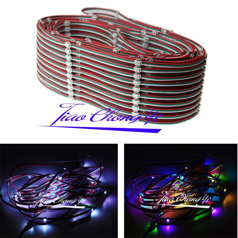 50-1000X WS2812B LED luz de cadena de módulo de píxeles RGB Color Completo Con Cable 12cm 5V