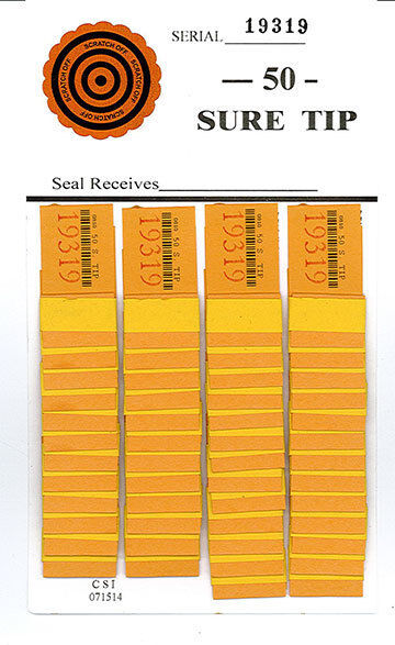 1 Dozen 43# SURE TIP BOARD {01-43} NASCAR P.P.# Bingo Pull Tab Raffle Jar Ticket