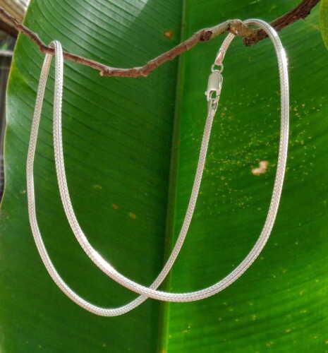 925 Bali Handcrafted Necklace 39246 Dragon Bones Design Solid Silver 3mm 52cm