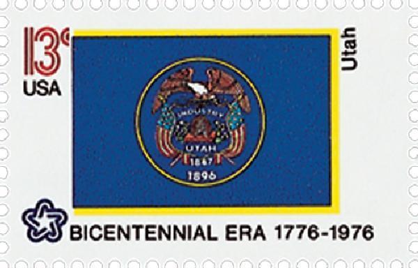 1976 13c Utah State Flag, Bicentennial Era Scott 1677 M