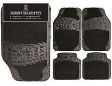 4PC Heavy Duty Universal Black CARPET & RUBBER Car Mat Set Non Slip Van Mats