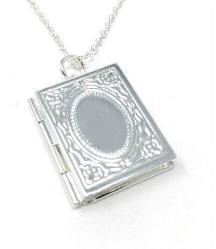 Abierto Novela Libro Foto Imagen Medallón Colgante Collar Señoras 925