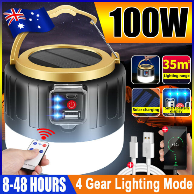 100w LED Solar Light Remote USB Rechargeable Tent Camping Emergency Outdoor AU
