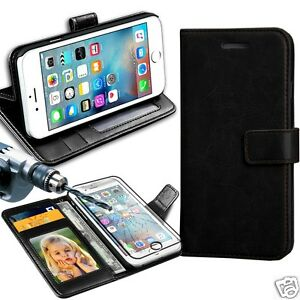 Black-Rich-Luxury-Leather-Wallet-Flip-Case-For-Various-Phones-amp-Tampered-Glass